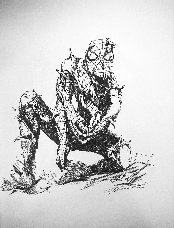 Drawing X Man Halloween Costume Idea Battle Damaged Spiderman Drawing by Cust0m