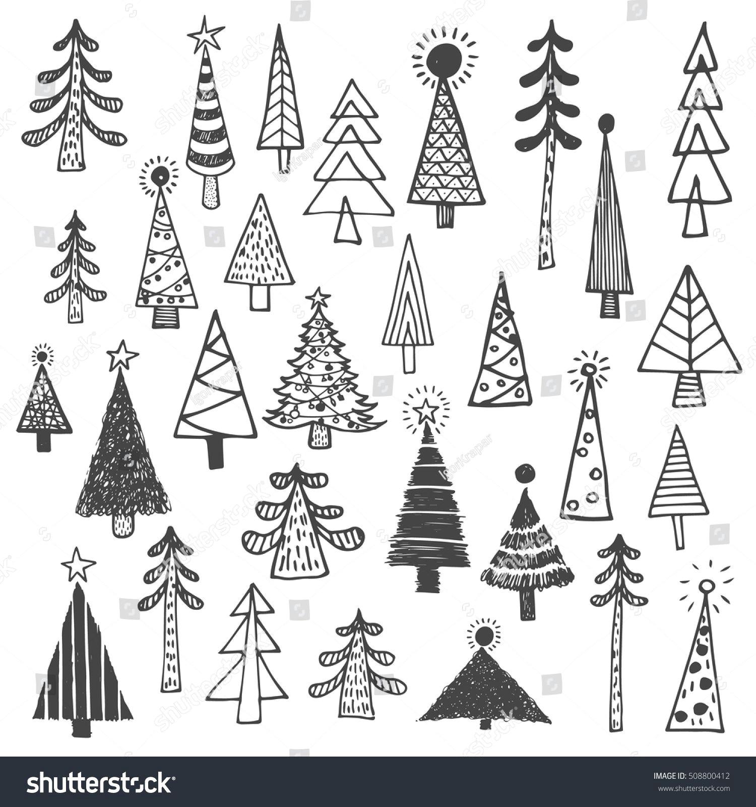 christmas tree white spruce fir fir tree simple drawing set