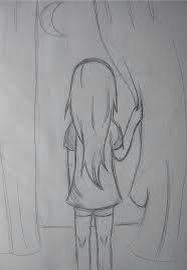 girl looking out of window easy simple drawings simple pencil drawings easy hair drawings