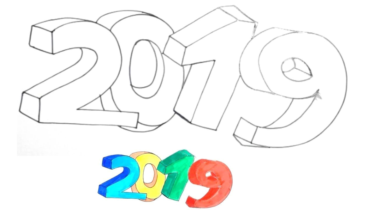 how to draw 2019 in 3d easy and simple 2019 3d 3ddrawings