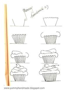 how to draw a cupcake step by step www yummyhandmade com drawing