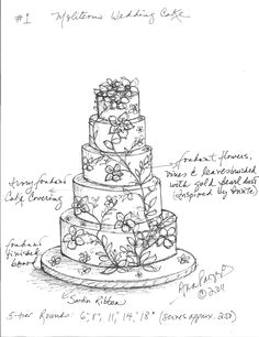 custom wedding cake sketch for jennifer and murat s cake ana parzych wedding cake illustrations