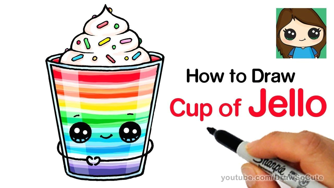 how to draw a cup of jello easy youtube