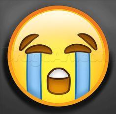 how to draw crying emoji