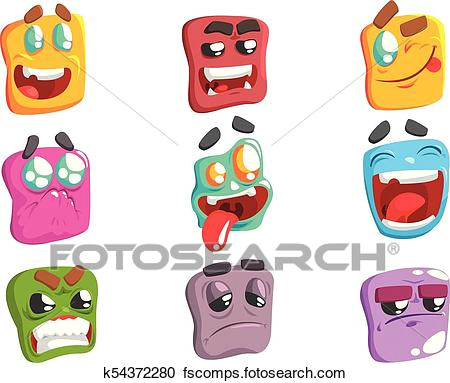 square face colorful emoji set od isolated icons on white background cartoon simple style vector emoticon collection of expressions