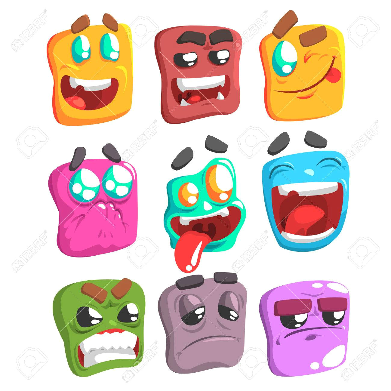 square face colorful emoji set od isolated icons on white background cartoon simple style vector