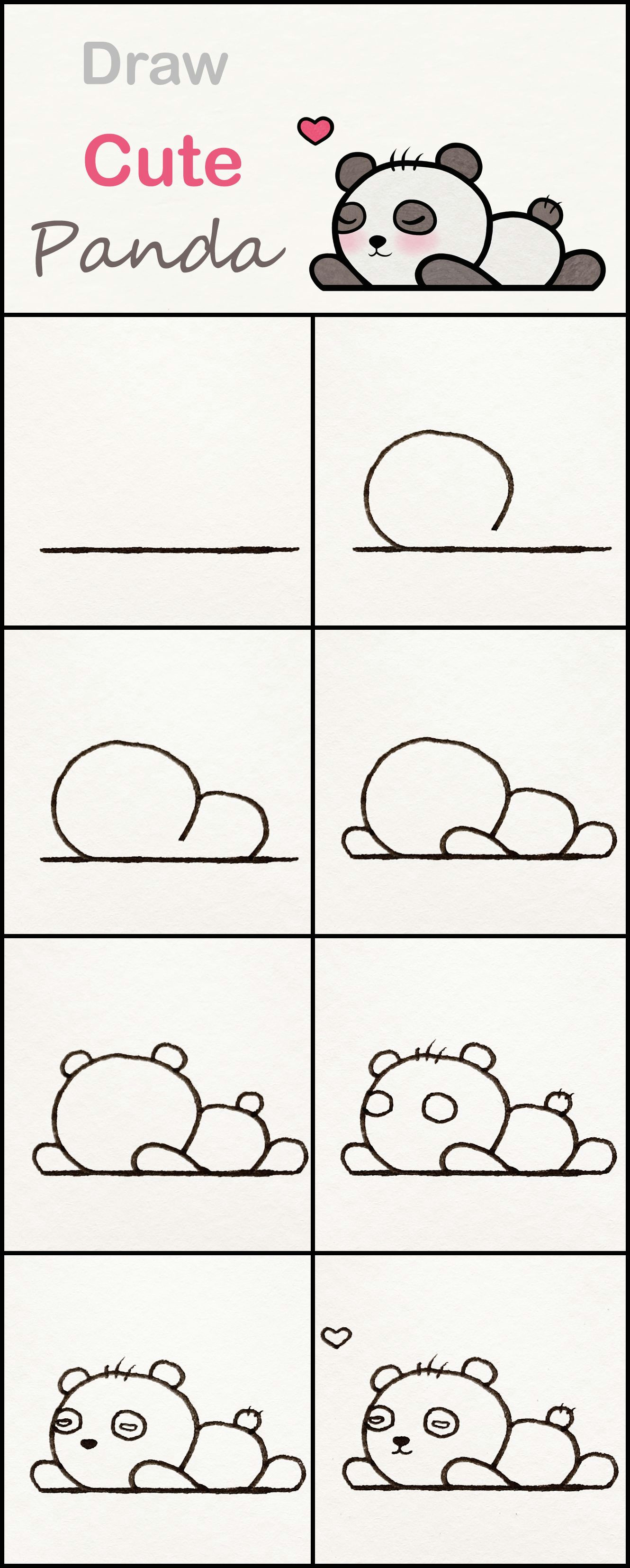 learn how to draw a cute baby panda step by step a very simple tutorial panda drawings kawaii tutorial