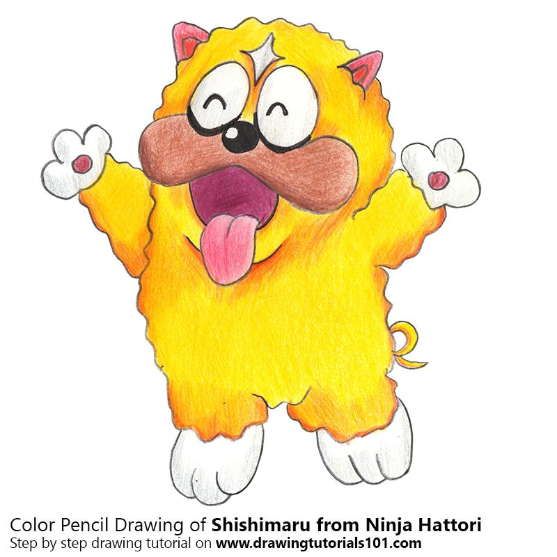 shishimaru from ninja hattori with color pencils time lapse drawing tutorials cartoon characters