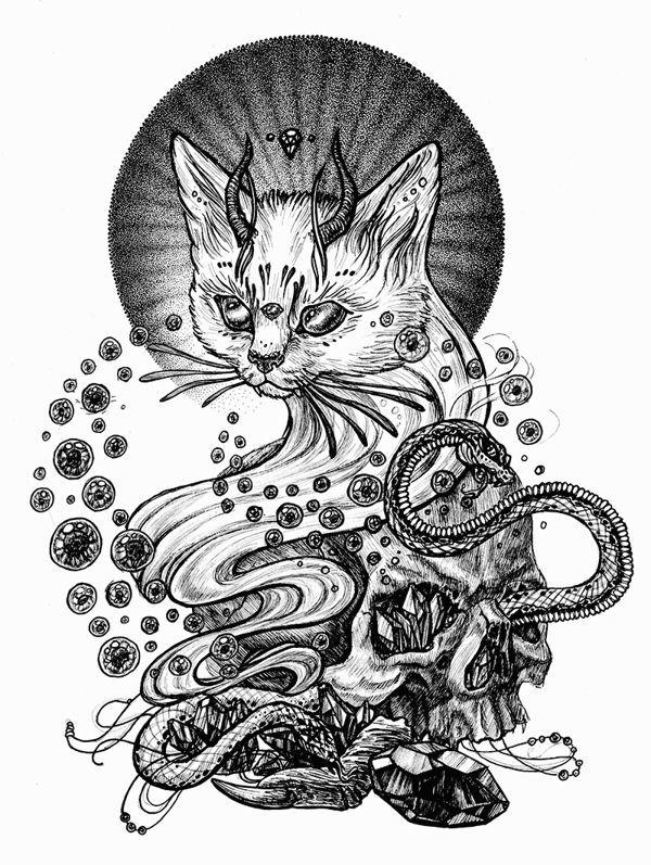 evil cat by julia vysotskaya via behance
