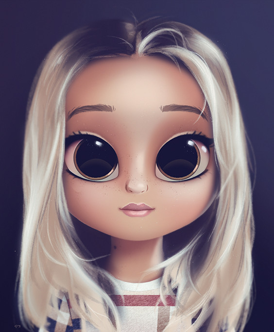cartoon portrait digital art digital drawing digital painting character design drawing big eyes cute illustration art girl doll hair