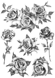 roses flower set set of 6 temporary tattoo realistic roses tattoo roses tattoo flowers tattoo black roses temporary tattoo floral