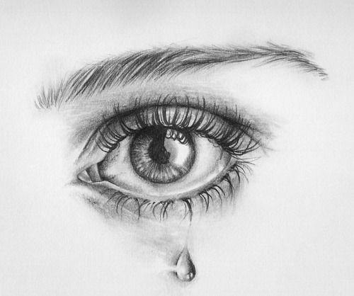 pencil sketch of eye crying