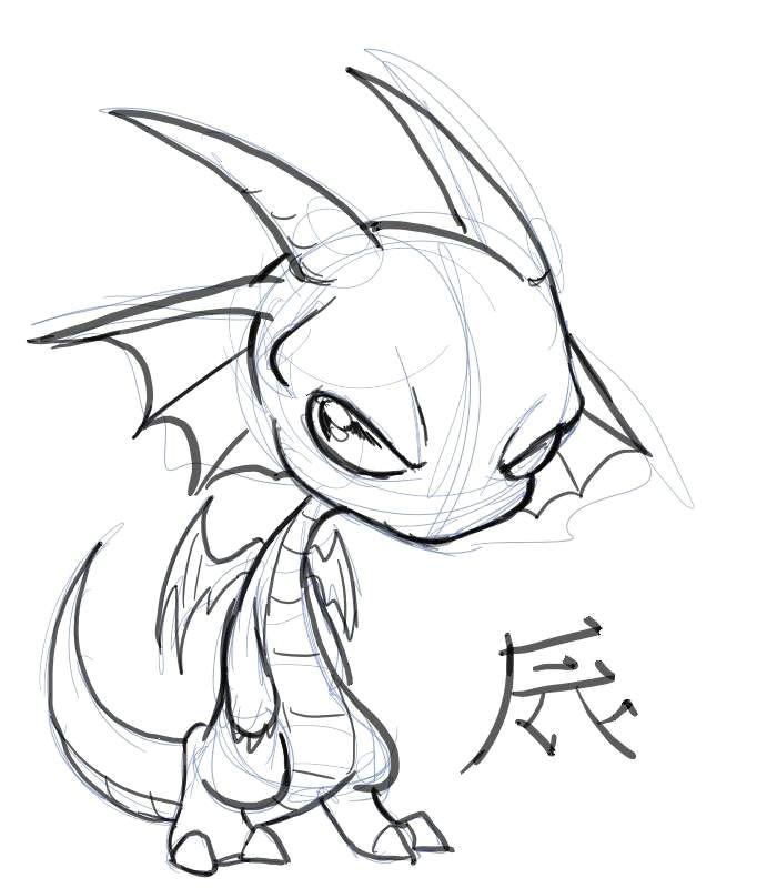 Drawings Of Cartoon Dragons Chibi Dragon Chibi Dragon by Nocturnalmoth On Deviantart Lineart
