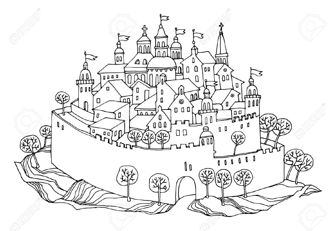 cartoon hand drawing castle stock vector 17590381