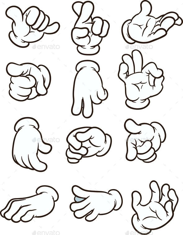 cartoon hands making different gestures vector clip art illustration each on a separate layer eps10 file included
