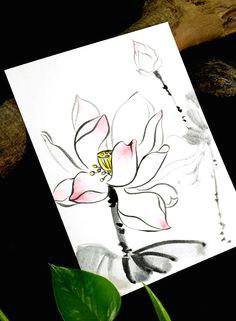 pure lotus flowers original painting drawing by padmazenart lotus flowers chinese brush zen art