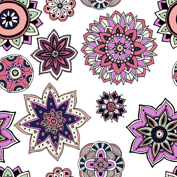 seamless pattern texture indian arabic turkish style elements vector art illustration