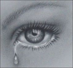 pencil drawings detailed eye with tear focus on the detail of the iris and