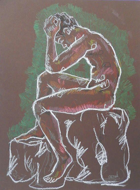 nude art male nude fine art original figure drawing colourful