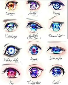 collection of different eye styles rendered in copics