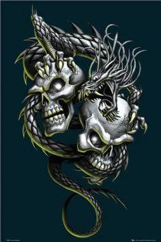 dual skulls and dragon