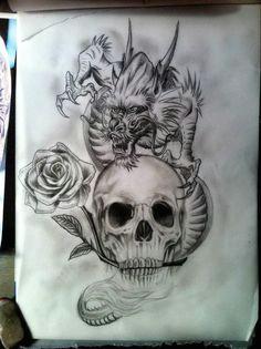 deviantart more like alexabelle rose script chest tattoo by calebslabzzzgraham crow skulldragon sketchkinder