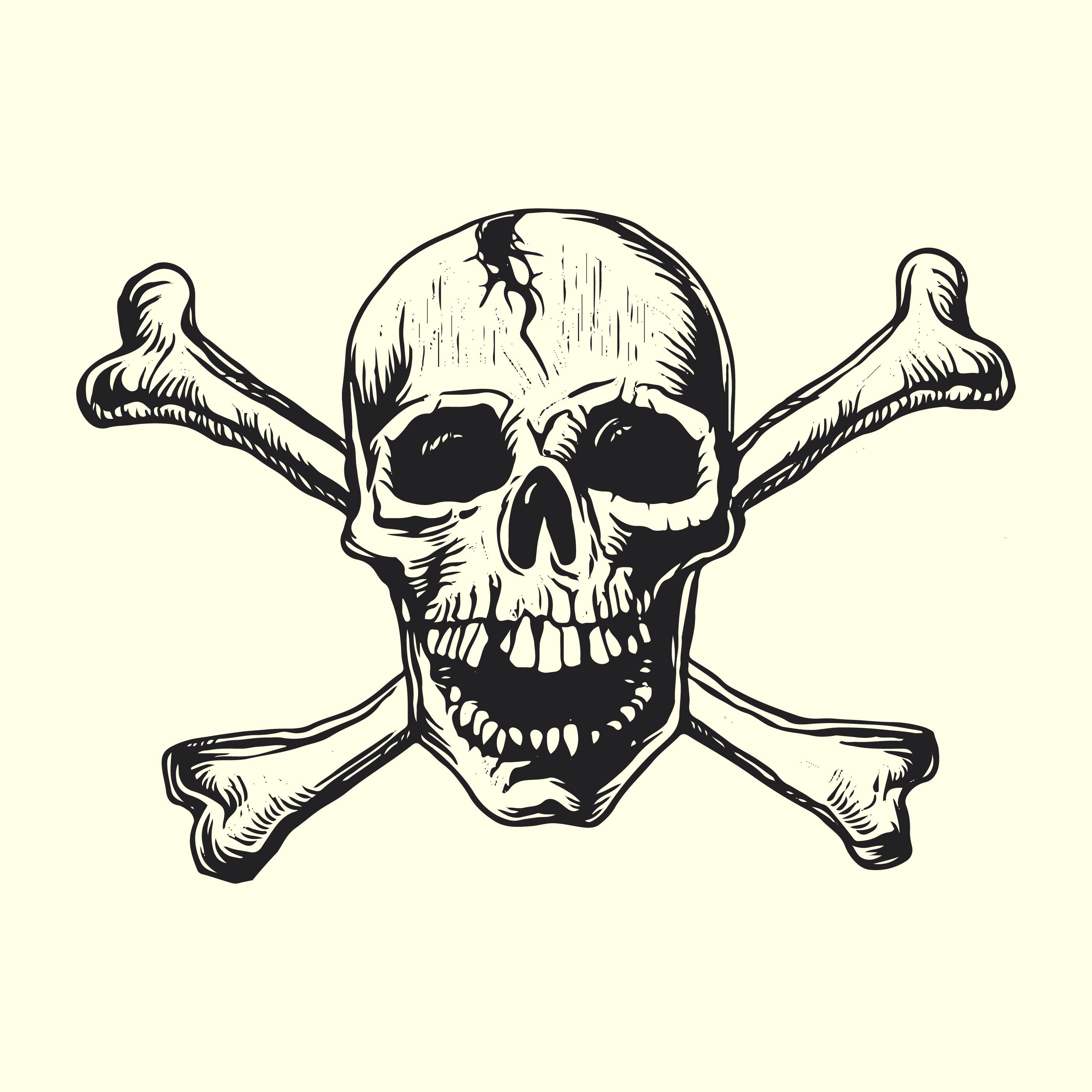 skull with bones linocut vector design download free vector art stock graphics
