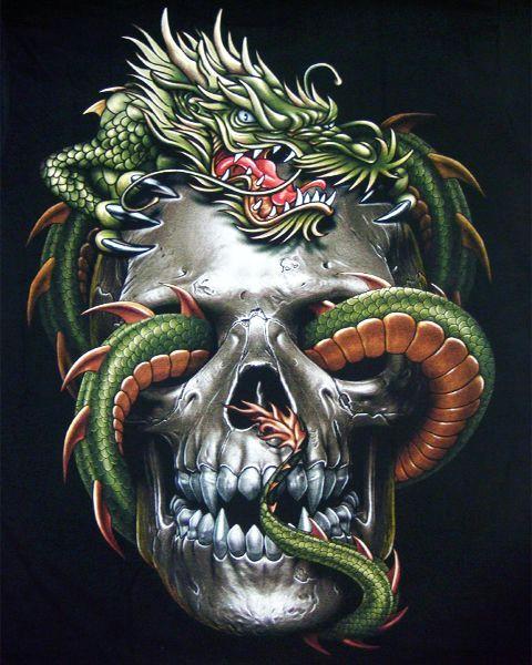 skulls and gutaiars vampire skull dragon t shirt chinese dragon mens t shirts tattoo