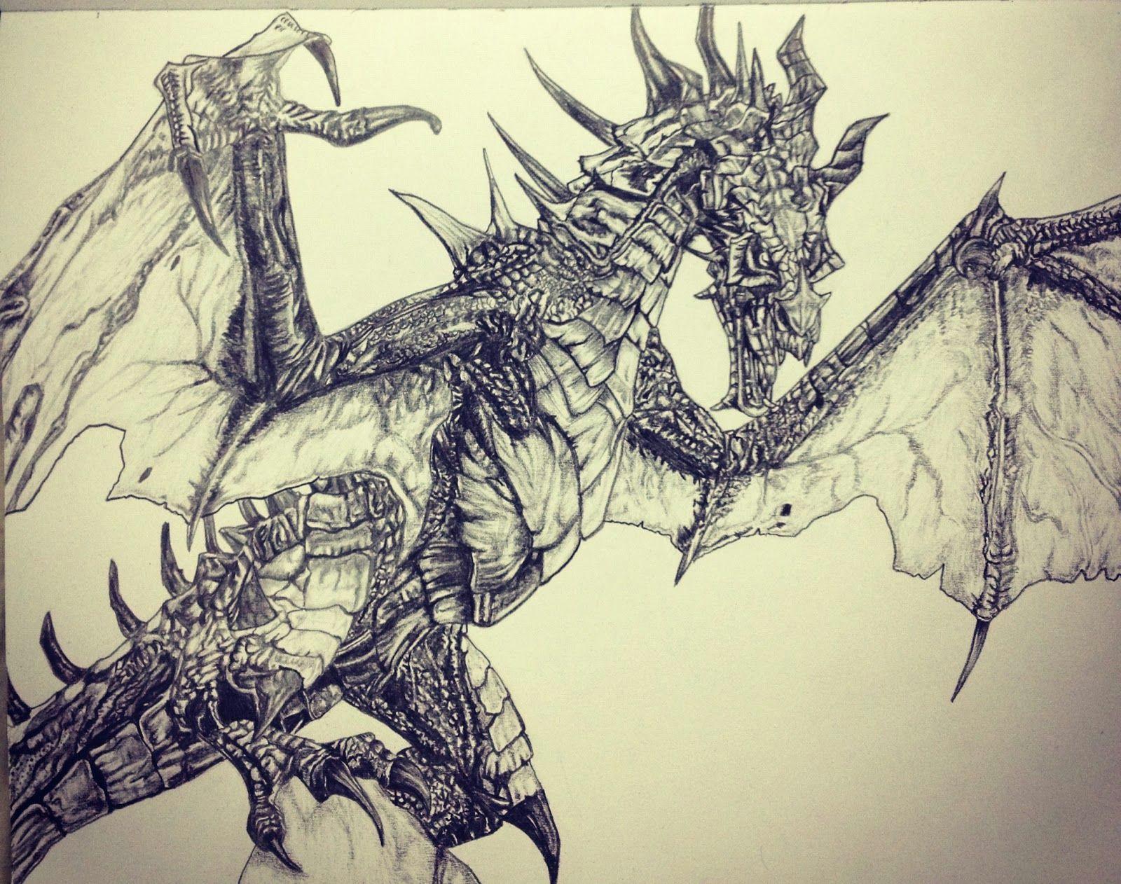 pencil dragon drawings skyrim dragon drawings in pencil dragon alduin sketch