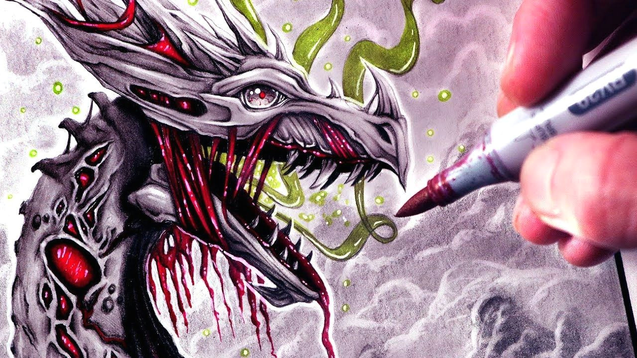 let s draw a zombie dragon fantasy art friday