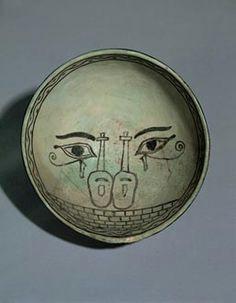 bowl with eyes instruments minet el beida syria 14th