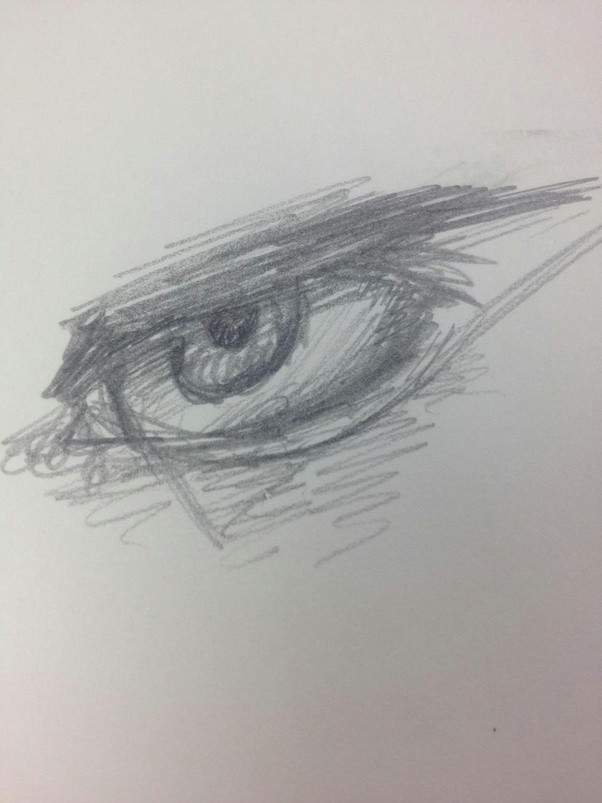 i drew the triangle on a whim must people don t do that but it s a simple way of explaining it i suppose and if you don t know how to draw an eye