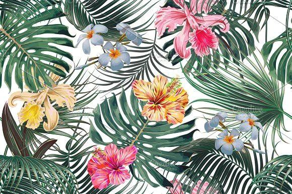 tropical leaves flowers pattern tropicalpattern exoticflowers
