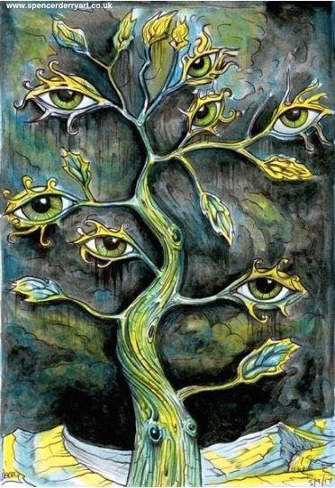 7 eye tree version 2 surreal art illustration by uk artist spencer j derry surrealism drawing art