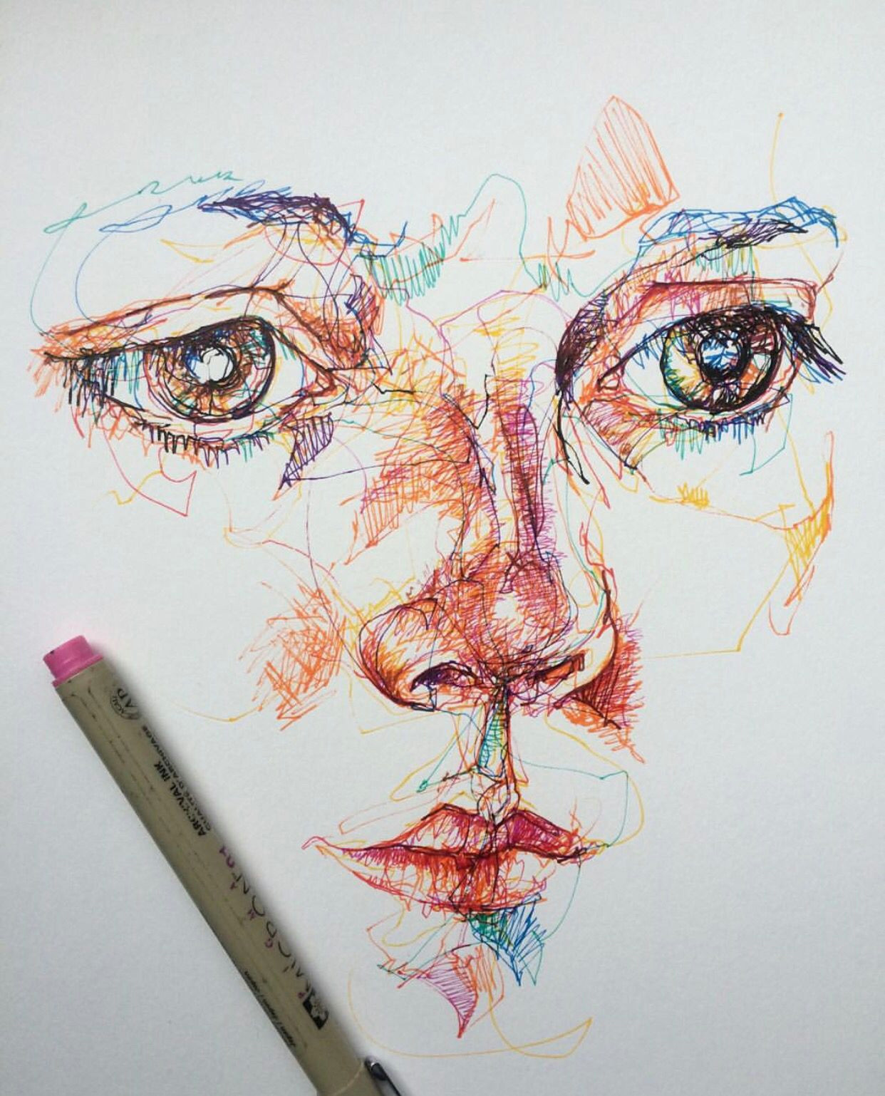 coloured pen fine liner portrait face drawing sketch line layers