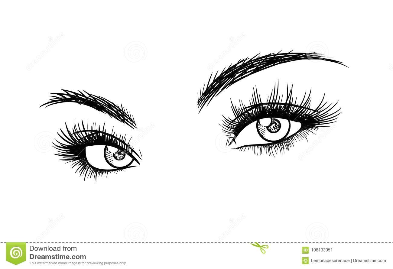 a hand drawn vector sketch illustration of beautiful eyelash extension