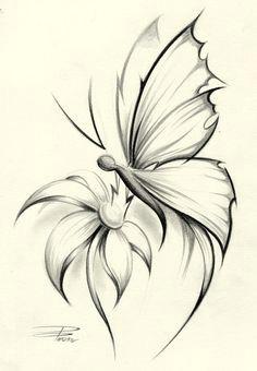 butterflies on flower skectches butterfly flower by davepinsker on deviantart butterfly sketch simple