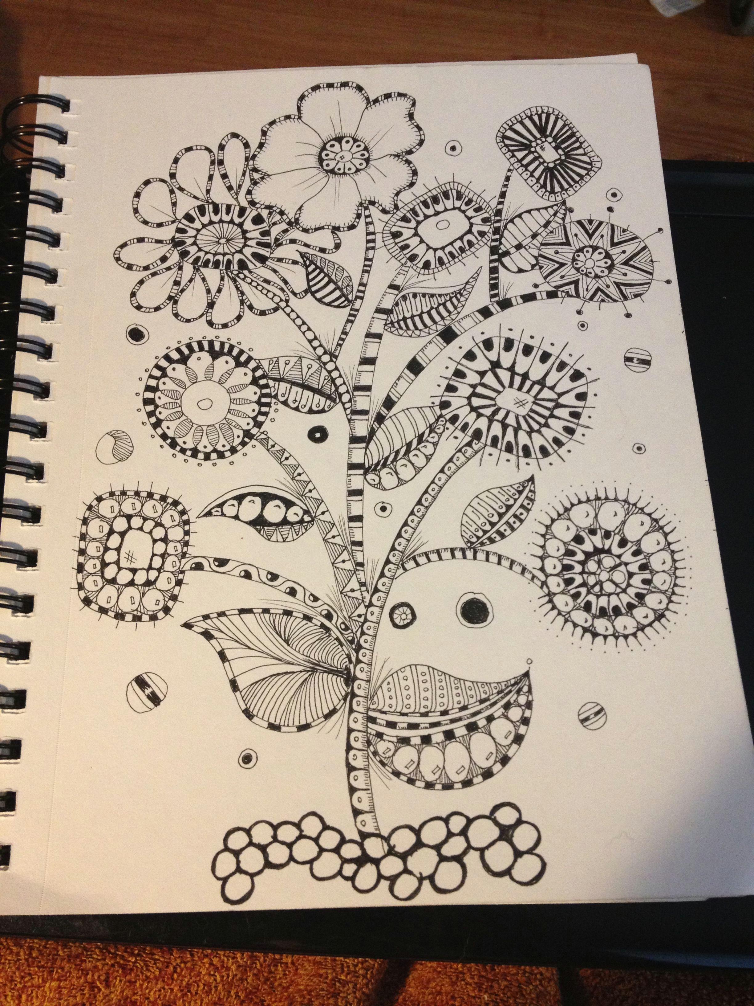 zentangle mod flower garden
