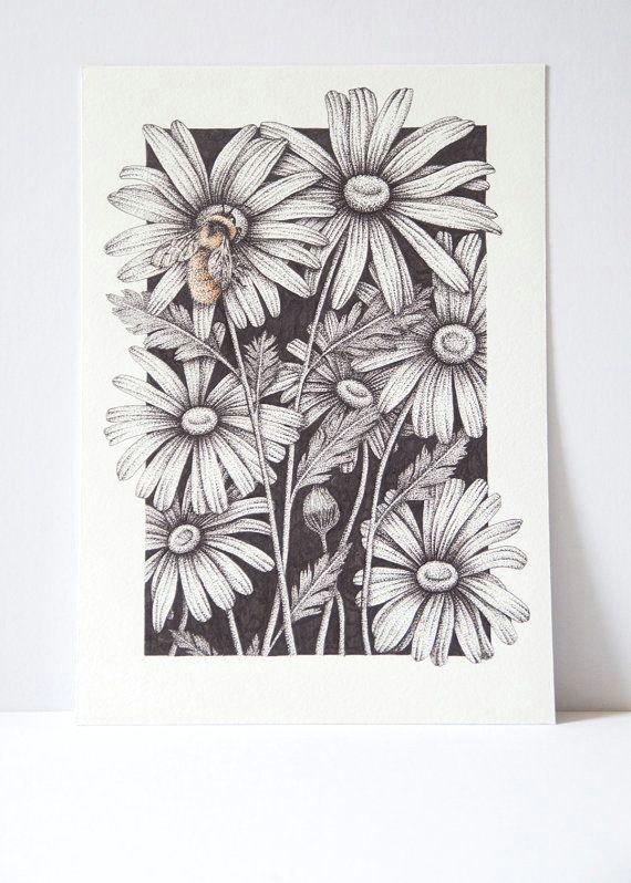 billedresultat for ink drawing flower heads