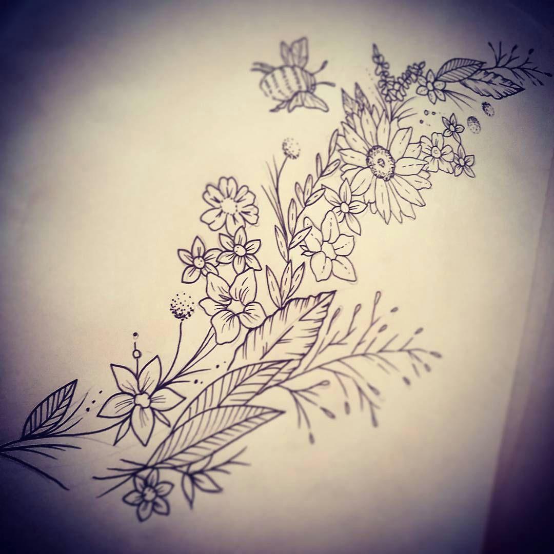 doodle day d tattoo tattoodesign drawing doodle wildflower wildflowertattoo flowertattoo beetattoo flowersketch sketch leaf flower bee art