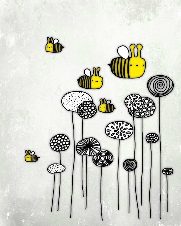 image result for flowers and bee pencil drawing