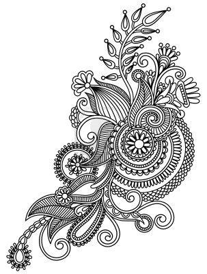original hand draw line art ornate flower design ukrainian traditional royalty free cliparts vectors and stock illustration image 17379987