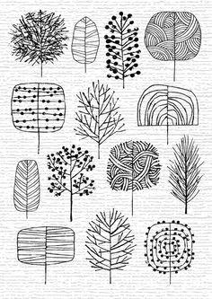 exemplos para criar arvores diferentes iheartprintsandpatterns i a etsy eloise renouf drawing trees