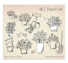 hand drawn garden plants clip art flowers clip art pot plants clip garden