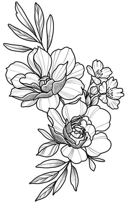floral tattoo design drawing beautifu simple flowers body art flower power flower tattoo ink pen pencil