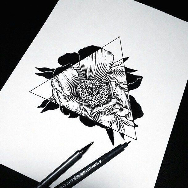 art drawing flowers hipster sketch triangle