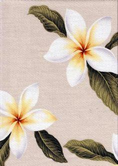 plumeria natural tropical botanical vintage hawaiian fabric hawaiian plumeria frangipani flowers on a cotton upholstery fabric