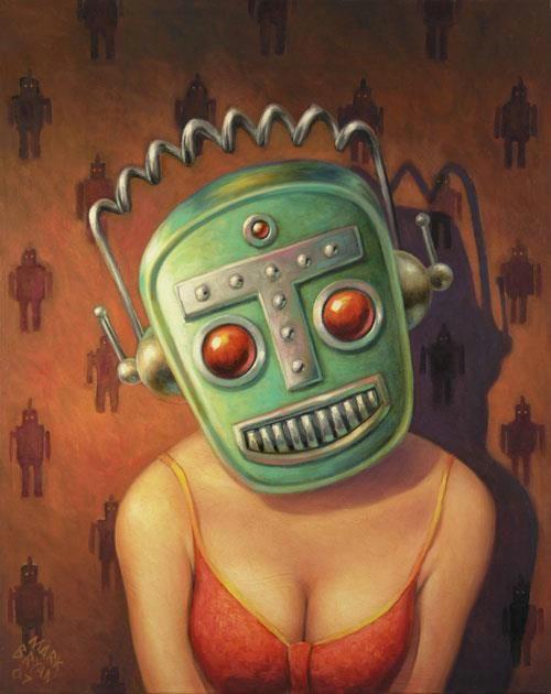 retro robot face