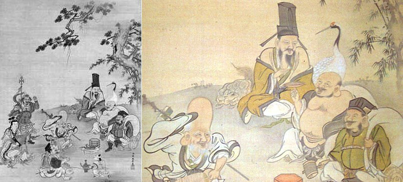 seven gods of good fortune by kano yasunobu 17th century
