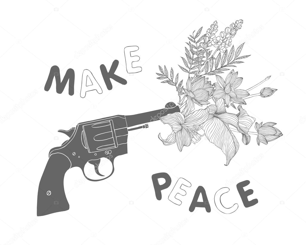 bouquet of flowers in the gun muzzle black on white wektor od ukususha